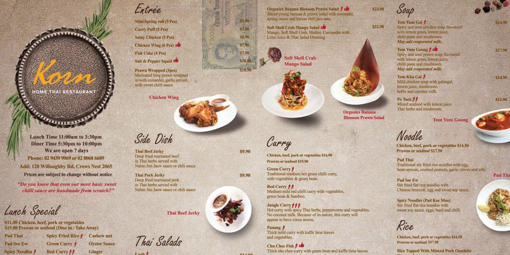 Visual Thai Restaurant Menu Example