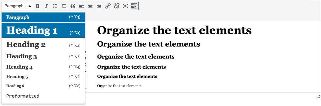 Organize the text elements